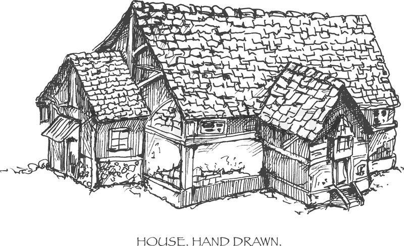 Haus handgezeichnete skizze abbildung vektor eps8 for Modernes haus gezeichnet