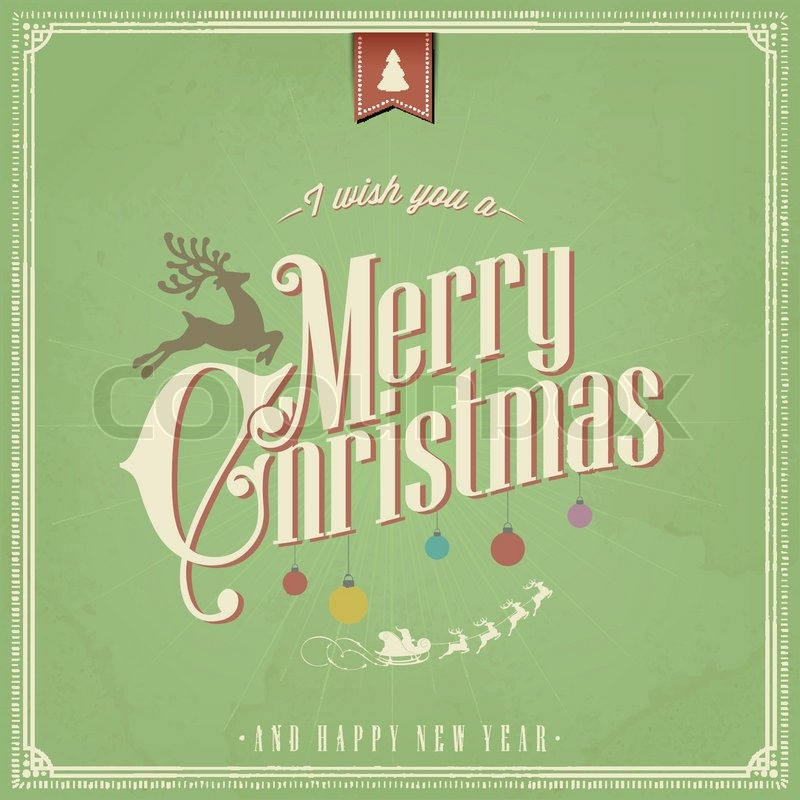 i wish you a merry christmas and happy new year vintage christmas background with typography stock vector colourbox