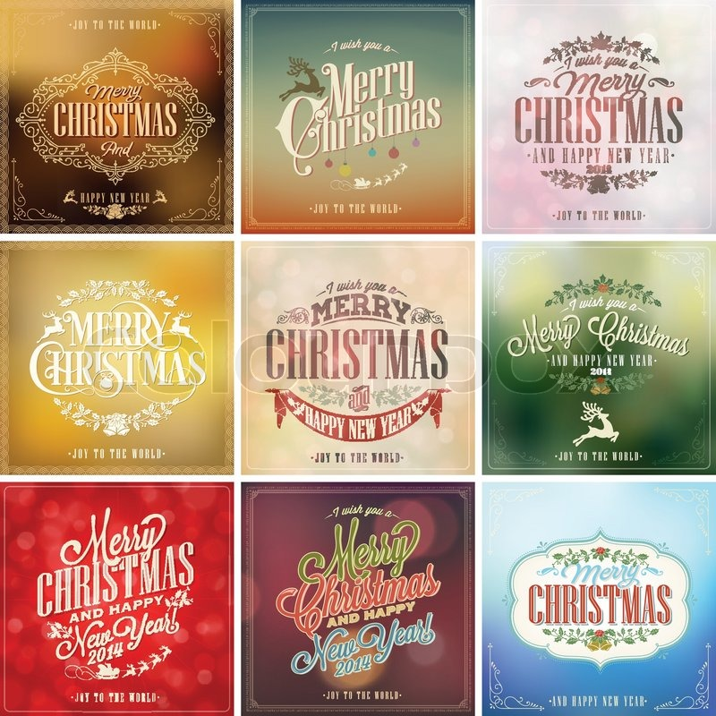 Set Of Vintage Christmas Light Vector Background With Typography Card Or Invitation