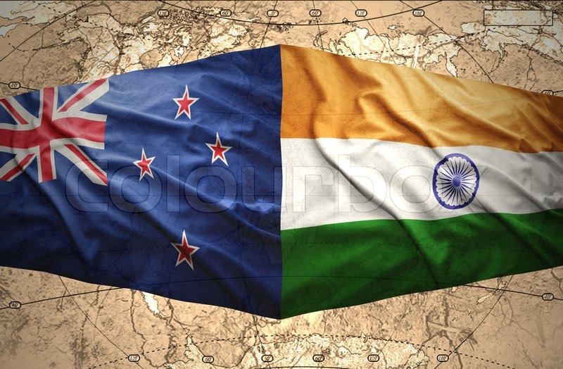 Waving new zealand and indian flags of the political map of the waving new zealand and indian flags of the political map of the world stock photo colourbox gumiabroncs Images