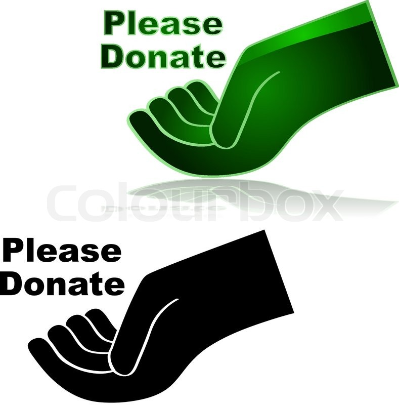 Open Hands Icon Icon Showing an Open Hand With The Words Quot Please Donate Quot Beside it Vector