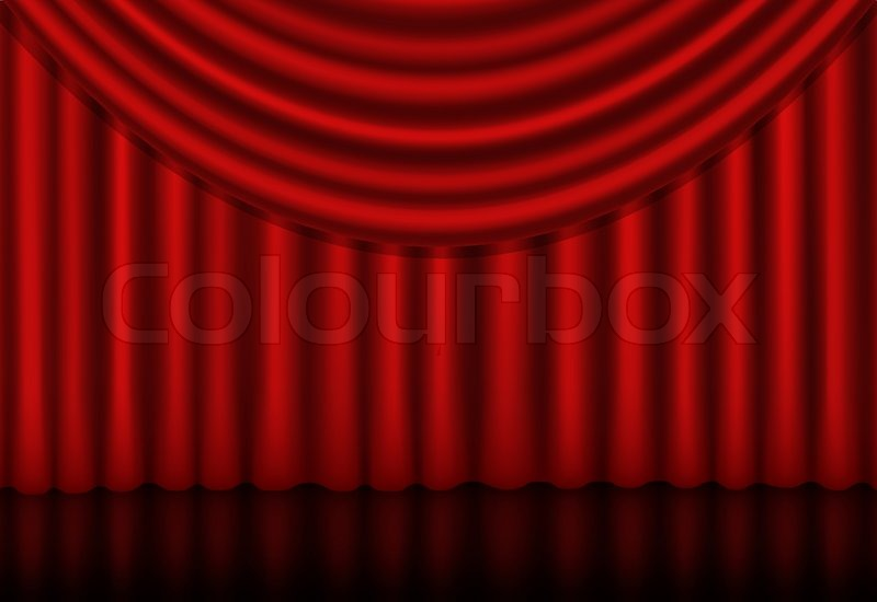Curtains Ideas curtains background : Red curtains background with a reflection | Stock Vector | Colourbox
