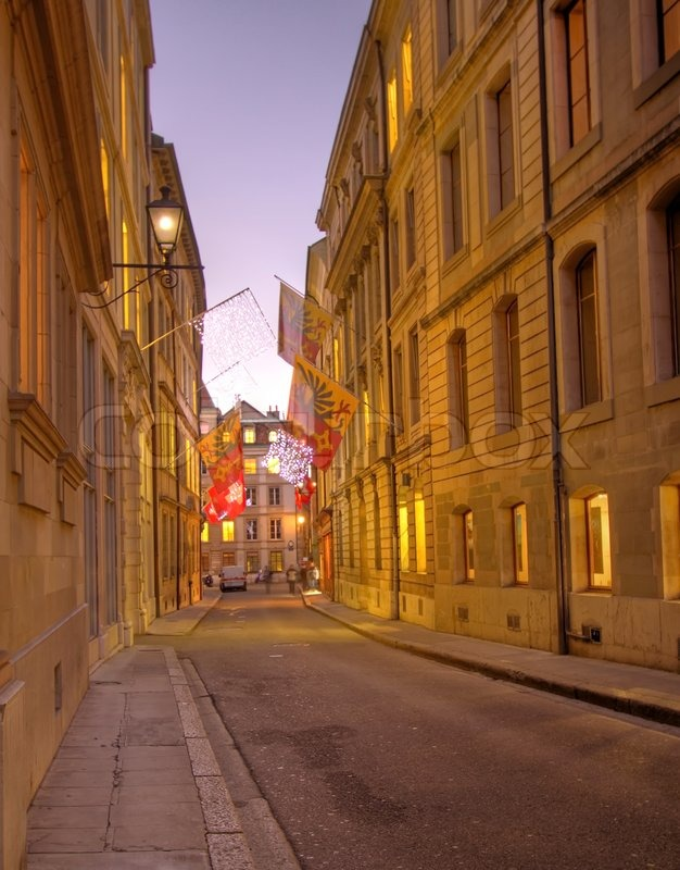 Street In Old City Of Geneva At Sunset Switzerland Hdr