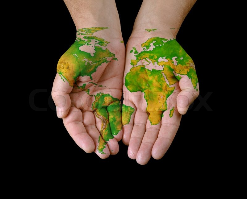 World map painted on hands stock photo colourbox stock image of world map painted on hands gumiabroncs Gallery