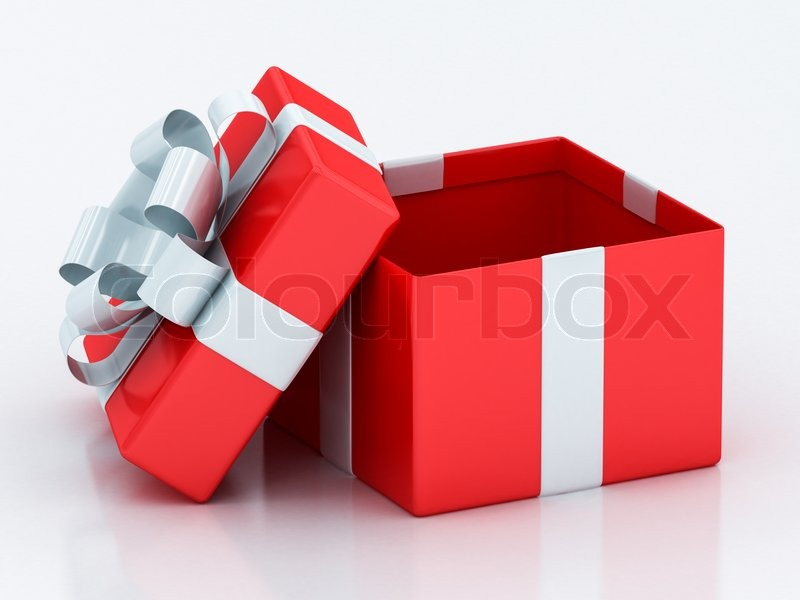 Open red gift boxes with white ribbon on a white ...