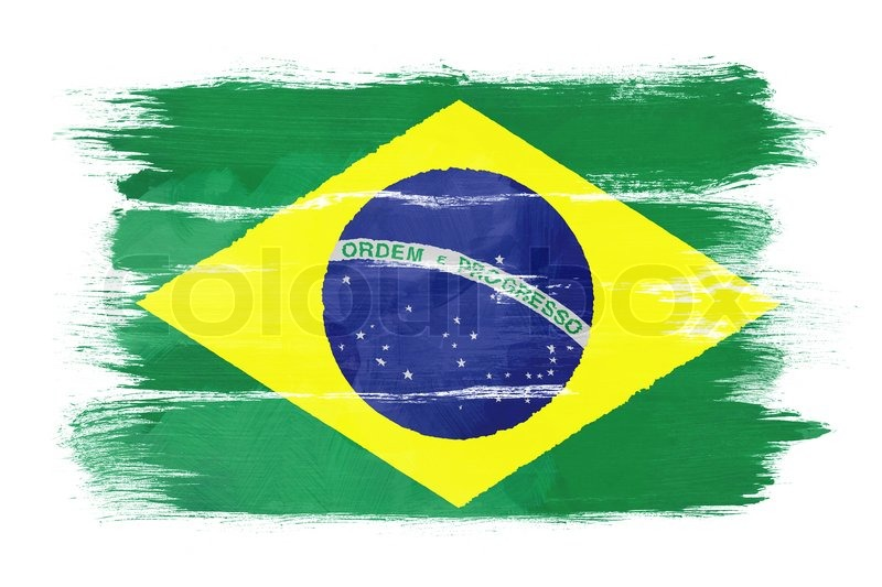 the brazilian flag painted on white paper with watercolor stock