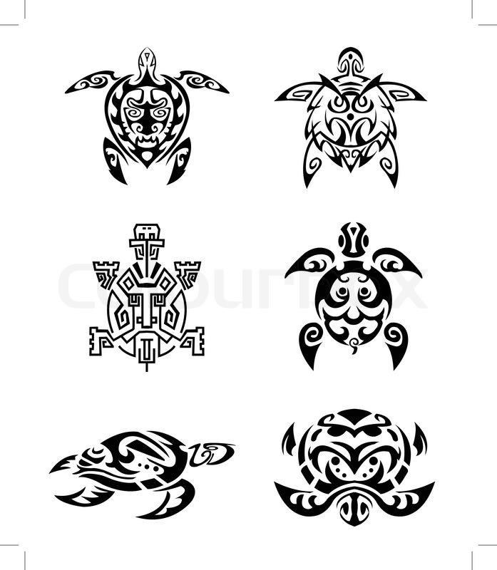 schildkr te tattoo set vektorgrafik colourbox. Black Bedroom Furniture Sets. Home Design Ideas