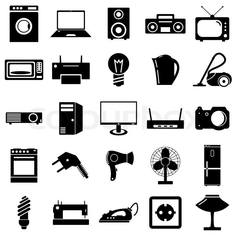 Flache Sammlungssymbolen. elektrische Geräte Symbole. Vektor ...