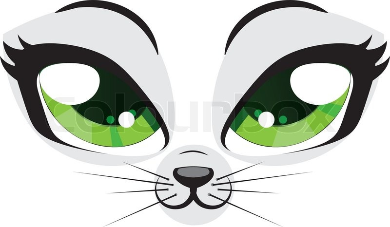 Cute cartoon kitten face with green eyes on white ...