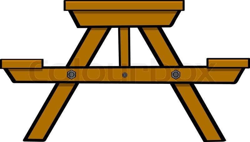 ... illustration showing a typical wooden picnic and camping table, vector