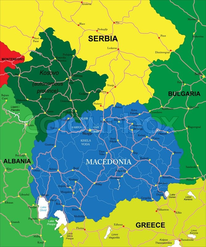 Highly detailed vector map of macedonia with administrative regions highly detailed vector map of macedonia with administrative regions main cities and roads vector publicscrutiny Choice Image
