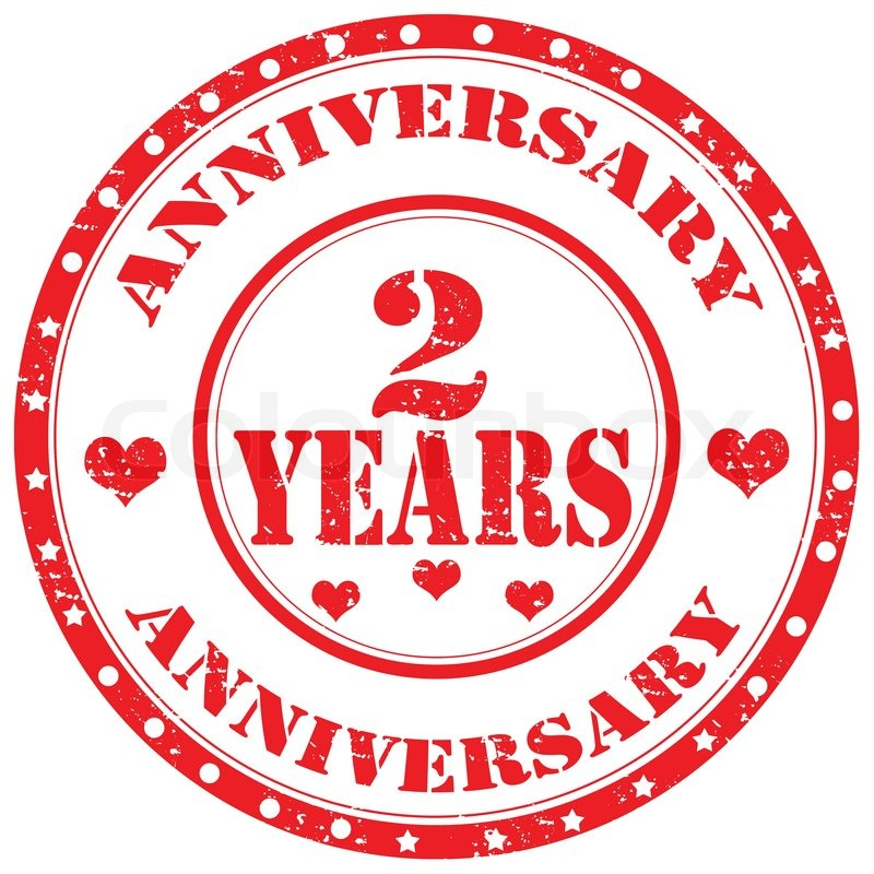 grunge rubber stamp with text anniversary 2 years vector