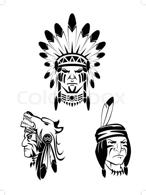 Apache Indian Set Stock Vector Colourbox