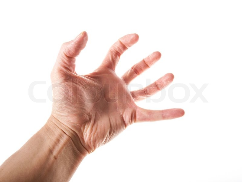 person grabbing with left hand isolated towards white background