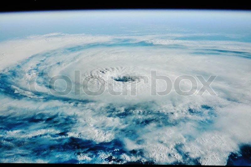 Uragan tornado shoot from space, stock photo