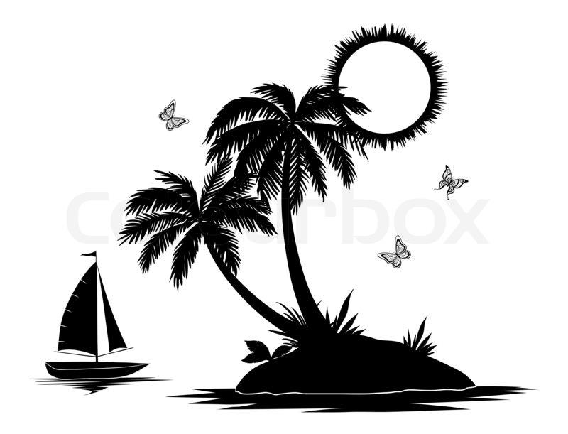 insel mit palmen und schiff silhouetten stockfoto colourbox. Black Bedroom Furniture Sets. Home Design Ideas