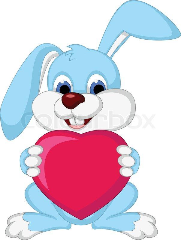 Vector illustration of rabbit cartoon holding love heart ...