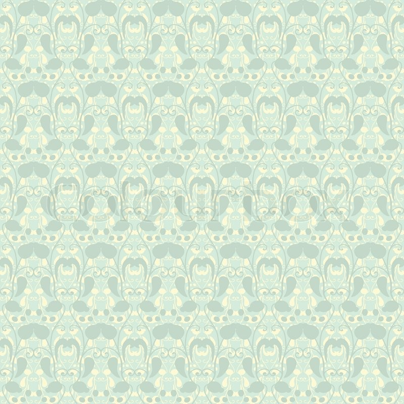 Neutral Floral Ornament Plant Motives Green Tone Use As Wallpaper Pattern Fill Or A Backdrop Seamless Texture