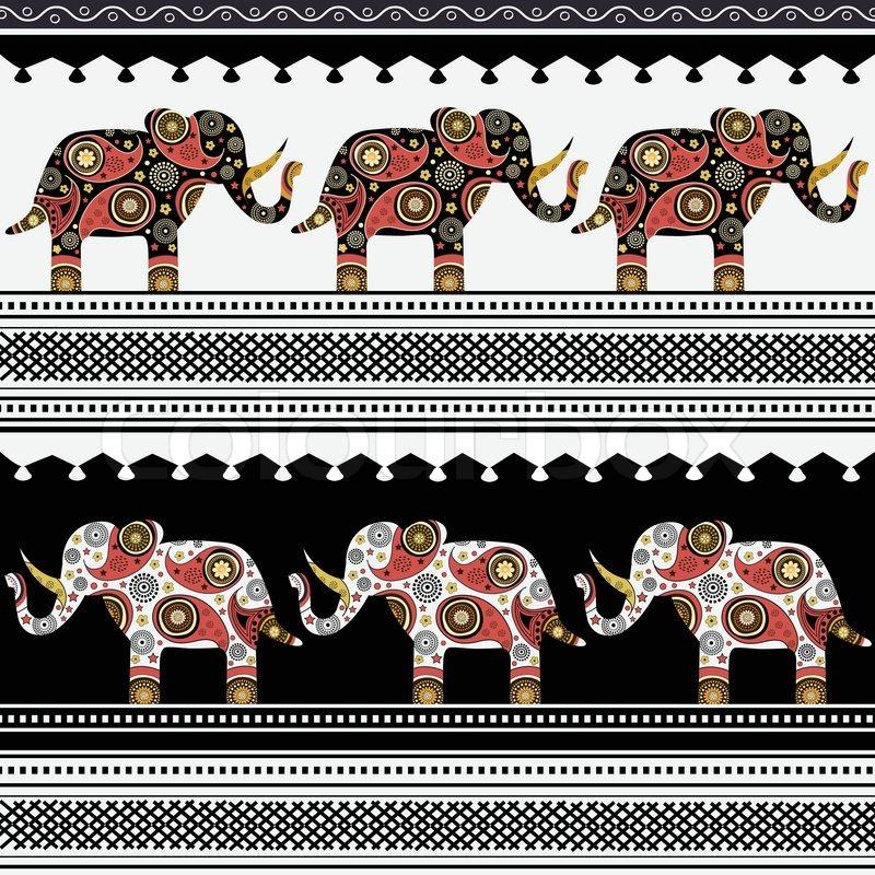 orientalische muster mit elefanten  stockvektor  colourbox