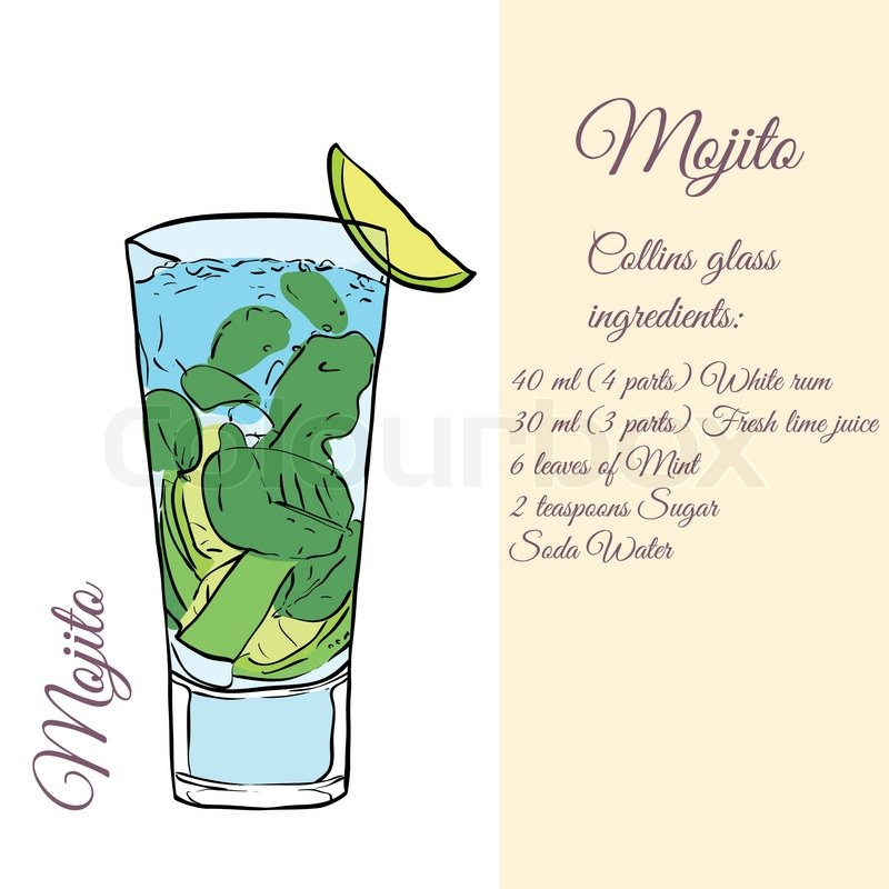 Mojito Cocktails Vector Illustration Stock