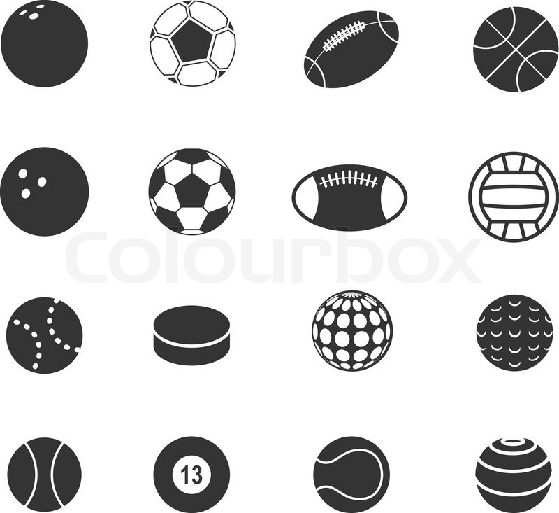 ball sport silhouettes vector collection colourbox silhouette sports