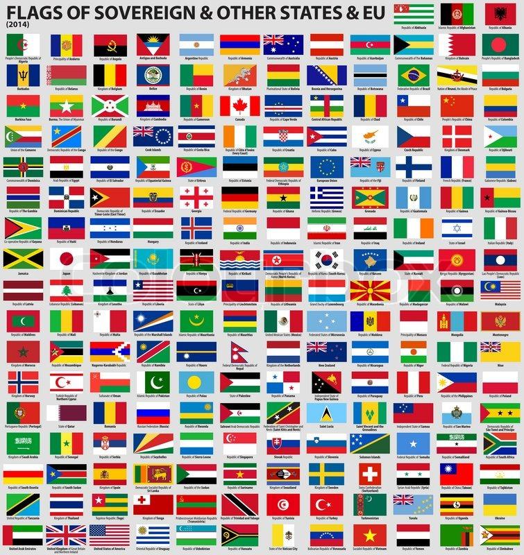 Länderflaggen Der Welt Mit Bezeichnung