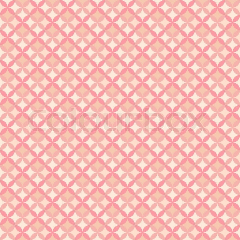 Abstract Geometric Floral Pattern Wallpaper. Vector Illustration For  Romantic Feminine Design. Pastel Pink Color. Seamless Background, Vector