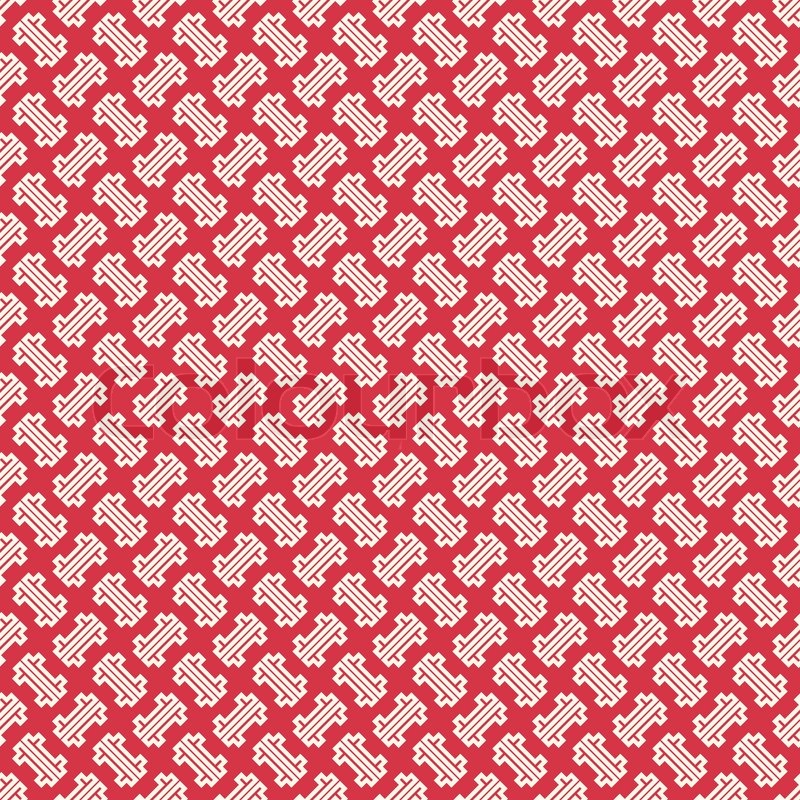 Abstract Chinese Geometric Pattern Wallpaper Vector Illustration For Oriental Design Red And White Colors Seamless Background