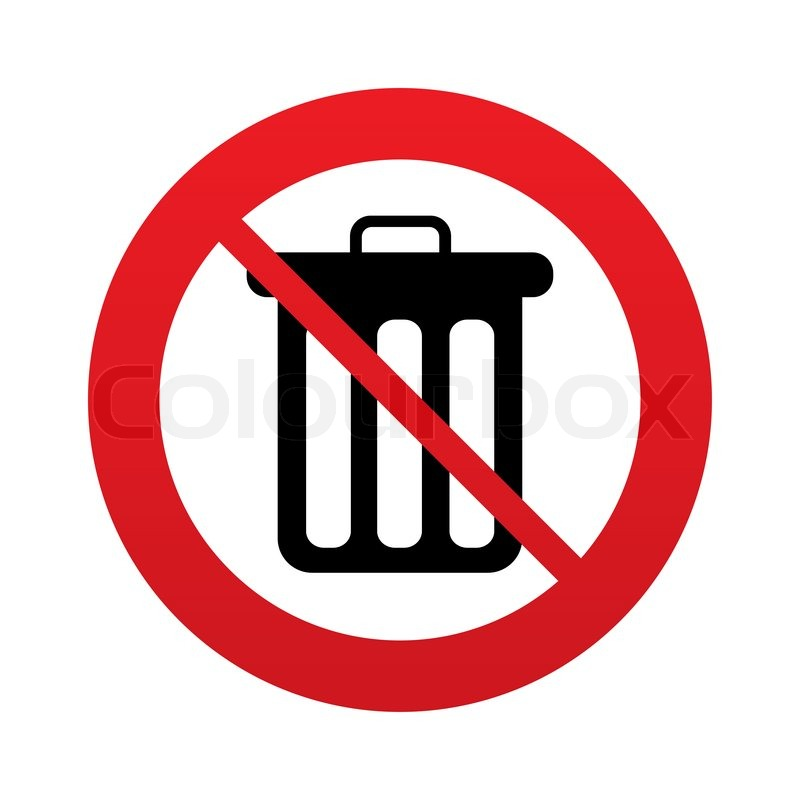Dont Throw Trash Recycle Bin Sign Icon Bin Symbol Red