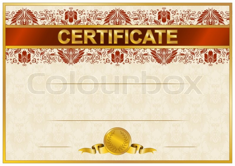 Elegant Template Of Certificate Diploma With Lace Ornament Ribbon