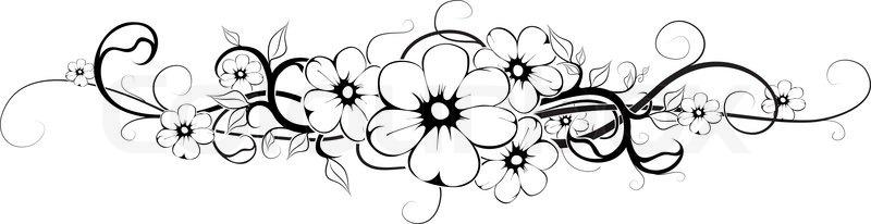 orizontal blume tattoo schwarz interpretatiosn stock vektor colourbox. Black Bedroom Furniture Sets. Home Design Ideas