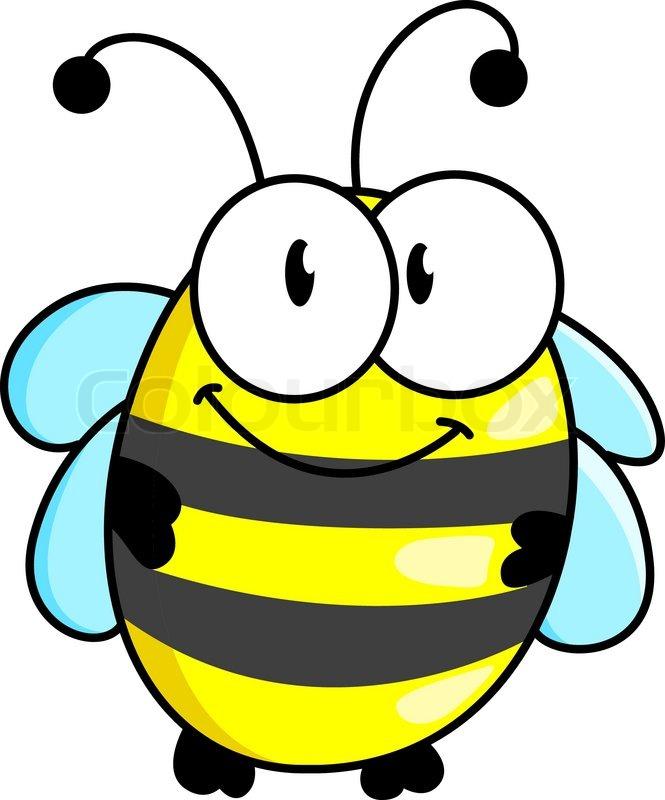 Cartoon Cute Striped Little Bumble Bee Stock Vector Colourbox
