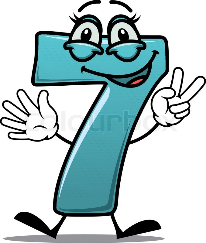 Cartoon cute happy laughing number 7 seven making a victory or peace ...
