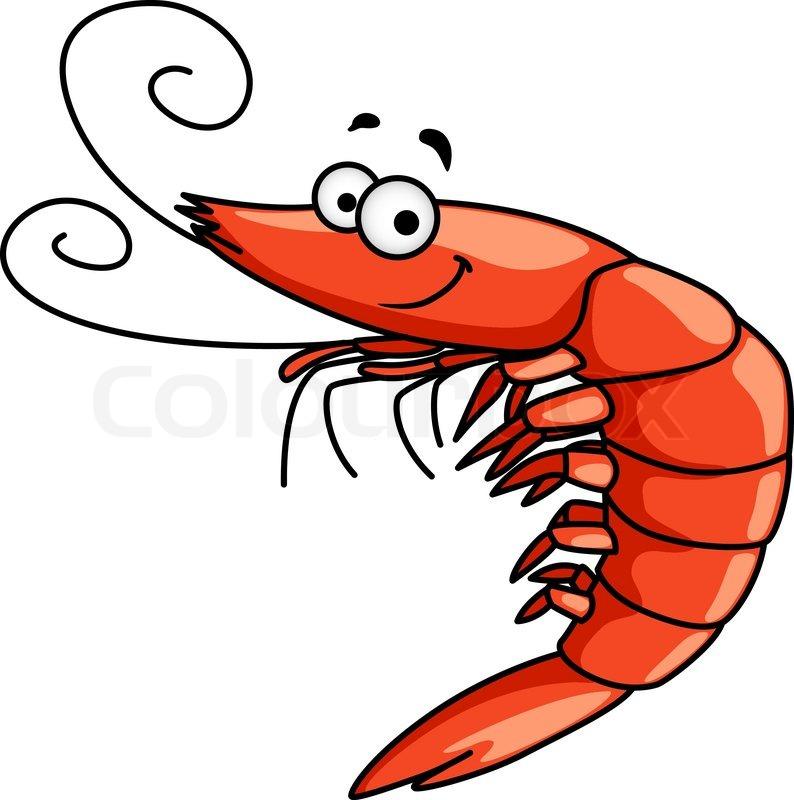 Glücklich Garnelen oder Shrimps mit geschweiften Fühler ...