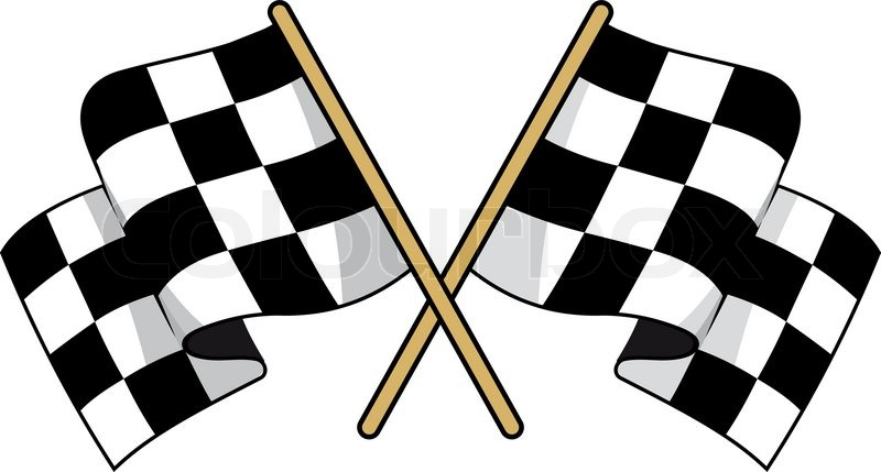 Race Car Trophy >> Crossed black and white checkered flags with waving fabric conceptual of motor sports, vector ...