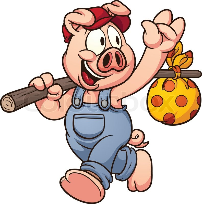 cartoon pig waving goodbye vector clip art illustration with simple rh colourbox com