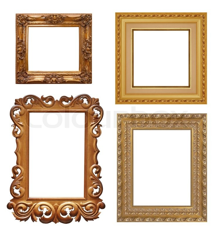 Four antique picture frames. High resolution | Stock Photo | Colourbox