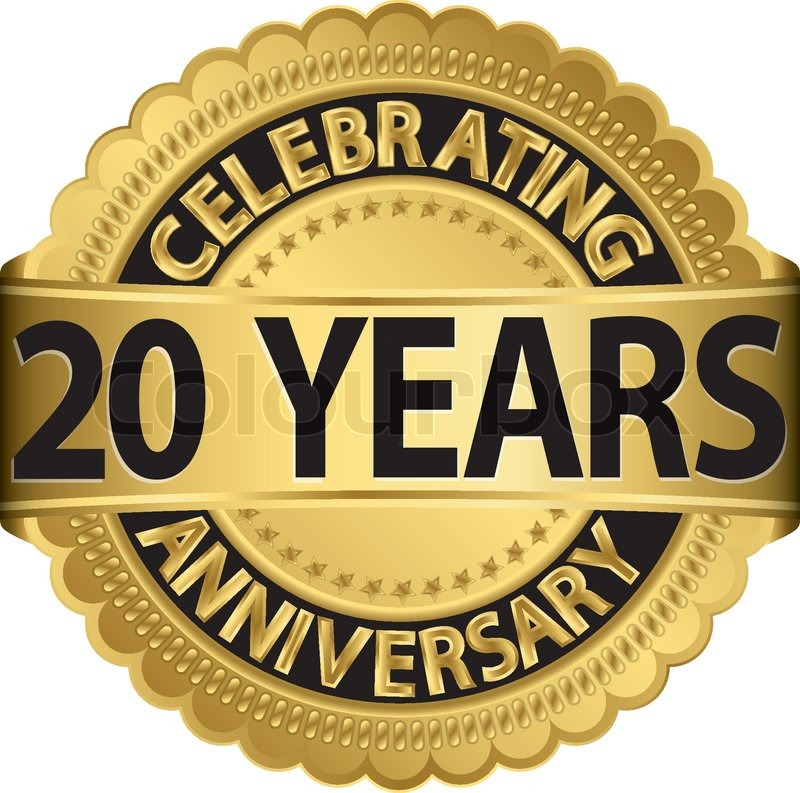 Celebrating 20 Years Anniversary Golden Label With Ribbon Vector