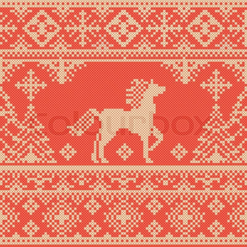 nahtlose traditionellen stickerei rot weihnachten muster mit pferd und pinien vektorgrafik. Black Bedroom Furniture Sets. Home Design Ideas