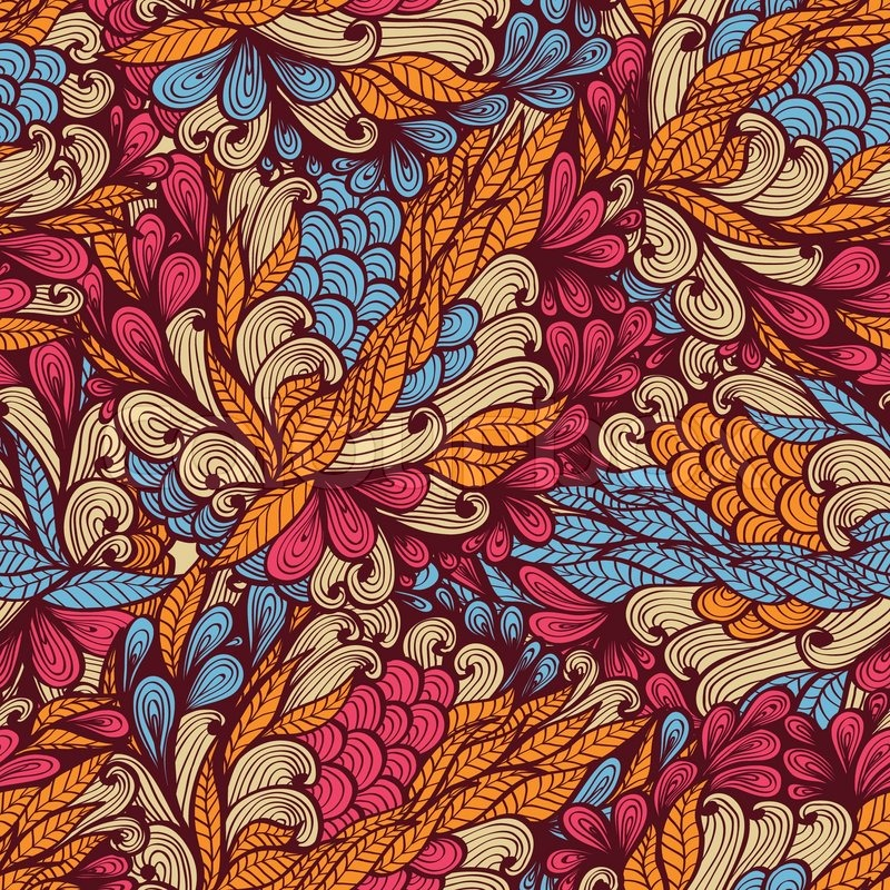 Seamless floral vintage bright hand drawn doodle pattern ...