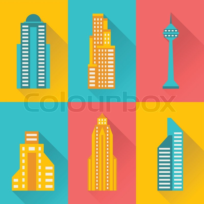 cityscape illustration with buildings in flat design style