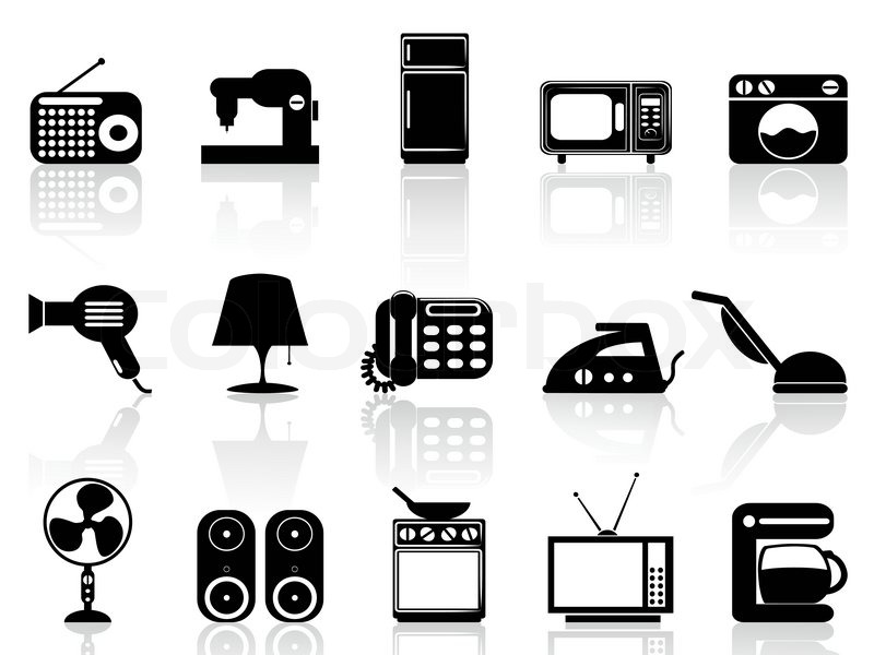 haushaltsger te icon set vektorgrafik colourbox. Black Bedroom Furniture Sets. Home Design Ideas