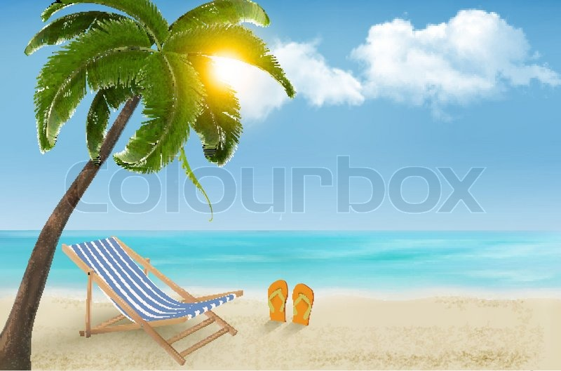 Seaside Background With A Beach Chair And Flip Flops. Vector Illustration |  Stock Vector | Colourbox