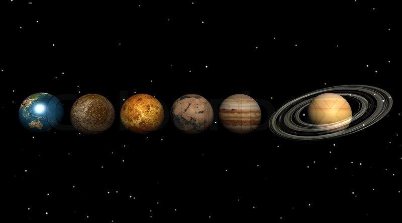 Aligned earth, mars, venus, saturn, neptun, uranus planets ...