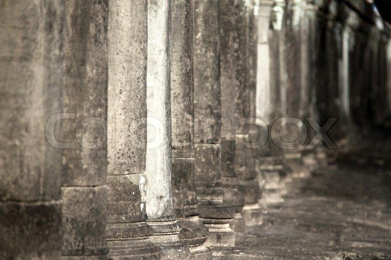 Ancient Stone Pillars : Ancient stone pillars in angkor wat stock photo colourbox