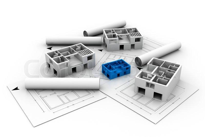 3d architektur haus blau gedruckten plan stockfoto colourbox. Black Bedroom Furniture Sets. Home Design Ideas