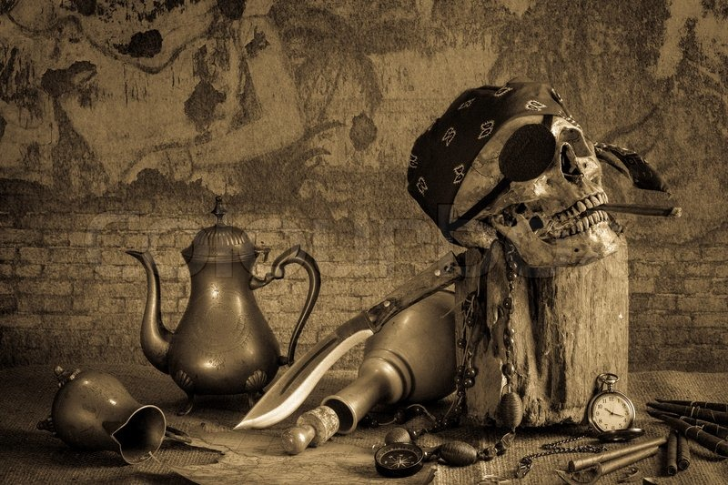 Still Life Pirate Skull With Cigar In The Mouth On The