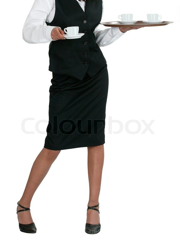 Stock image of 'A young attractive waitress on a white background'