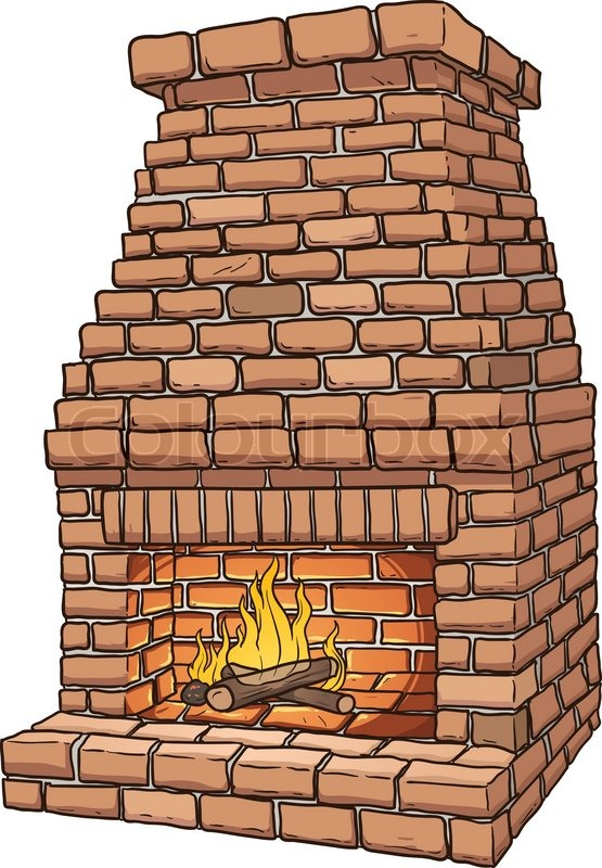 Cartoon Brick Fireplace Vector Clip Art Illustration With Simple Gradients All In A Single Layer