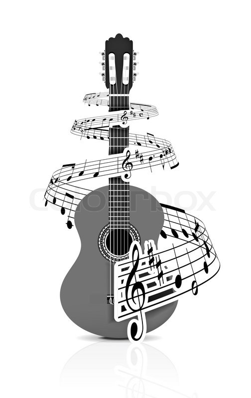 Stock image of 'Music notes with guitar player for design use,  illustration'